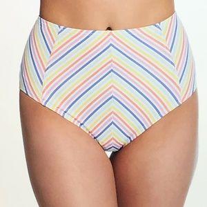 kate spade Hi-Waist Multi striped bikini bottom~XL